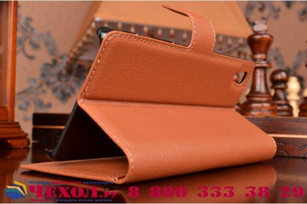 """Фирменный чехол-книжка из качественной импортной кожи с мульти-подставкой застёжкой и визитницей для Сони Экспериа Зет 5  / Зет 5  Дуал E6603/E6633 5.2"""" коричневый"""