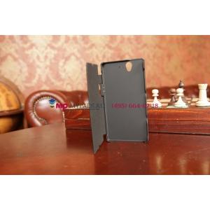 Чехол со встроенной усиленной мощной батарей-аккумулятором большой повышенной расширенной ёмкости 2800mAh для Sony Xperia Z C6602/C6603 черный кожаный + гарантия