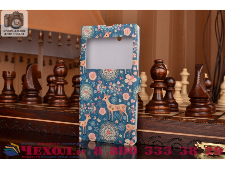 Фирменный чехол-книжка с безумно красивым расписным рисунком Оленя в цветах на Sony Xperia Z C6602/C6603 (L36h..