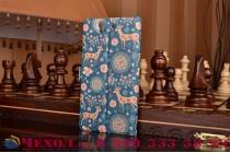Фирменный чехол-книжка с безумно красивым расписным рисунком Оленя в цветах на Sony Xperia Z C6602/C6603 (L36h) с окошком для звонков