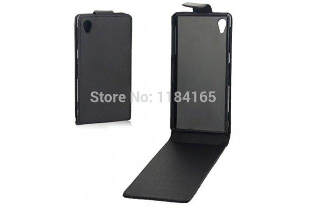 Фирменный оригинальный вертикальный откидной чехол-флип для Sony Xperia Z Ultra C6802/C6833 черный кожаный
