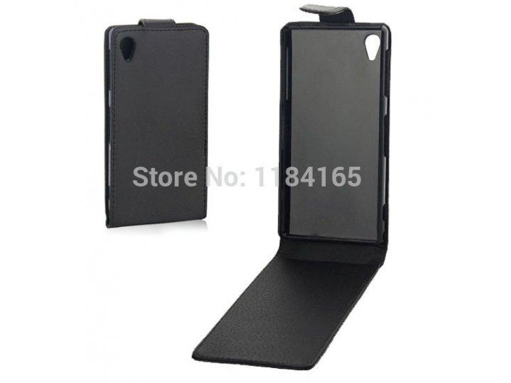 Фирменный оригинальный вертикальный откидной чехол-флип для Sony Xperia Z Ultra C6802/C6833 черный кожаный..