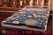 Фирменный чехол-книжка с безумно красивым расписным рисунком Оленя в цветах на Sony Xperia Z Ultra C6802/C6833 с окошком для звонков
