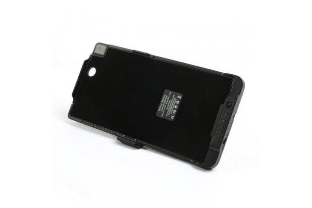 Чехол-бампер со встроенной усиленной мощной батарей-аккумулятором большой повышенной расширенной ёмкости 5000mAh для Sony Xperia Z Ultra C6802/C6833 черный + гарантия