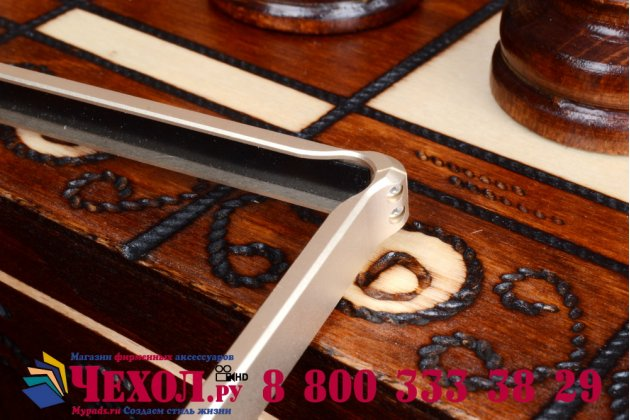 Фирменный оригинальный ультра-тонкий чехол-бампер для Sony Xperia Z Ultra C6802/C6833 золотой металлический