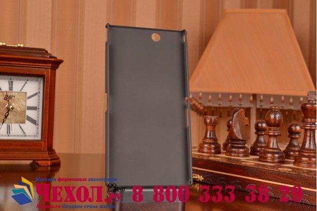 Фирменная задняя панель-крышка-накладка из тончайшего и прочного пластика для Sony Xperia Z Ultra C6802/C6833 черная