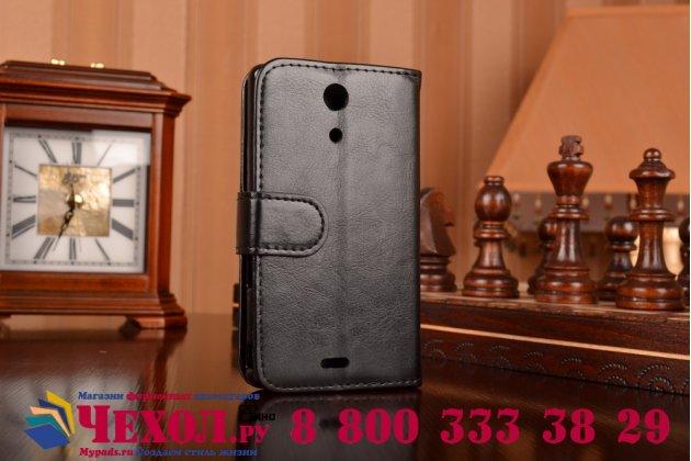 Фирменный чехол-книжка из качественной импортной кожи с подставкой застёжкой и визитницей для Сони Иксперия Зет Эр С5503 черный