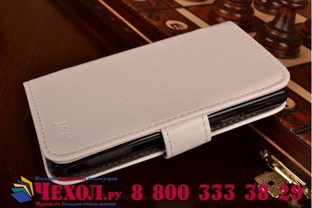Фирменный чехол-книжка из качественной импортной кожи с подставкой застёжкой и визитницей для Sony Xperia ZR /ZR LTE C5502/C5503 белый