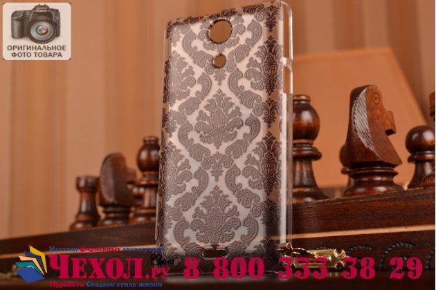 Фирменная роскошная задняя панель-чехол-накладка с расписным узором для Sony Xperia ZR /ZR LTE C5502/C5503 прозрачная черная