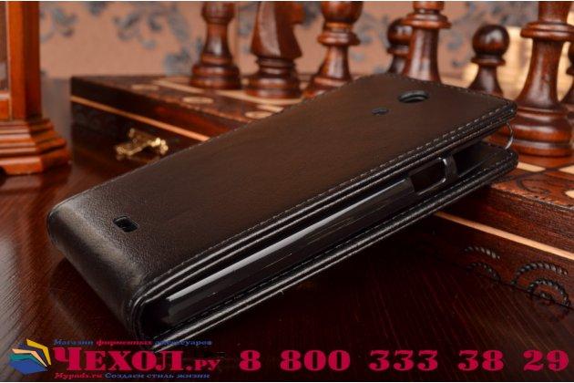 """Фирменный оригинальный вертикальный откидной чехол-флип для Sony Xperia ZR C5503 черный кожаный """"Prestige"""" Италия"""