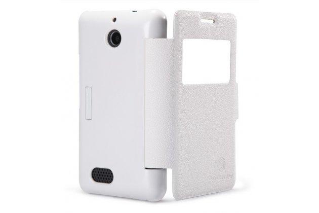 Фирменный оригинальный чехол-книжка для Sony Xperia E1/ E1 Dual D2005/ D2105 белый кожаный с окошком для входящих вызовов