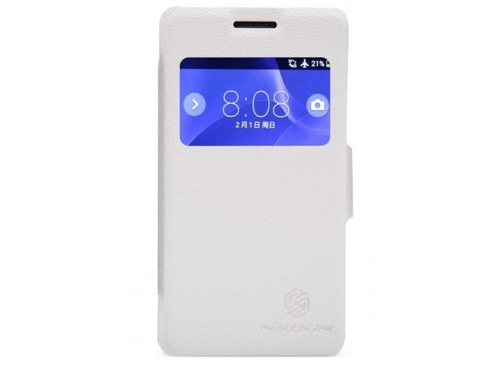 Фирменный оригинальный чехол-книжка для Sony Xperia E1/ E1 Dual D2005/ D2105 белый кожаный с окошком для входя..