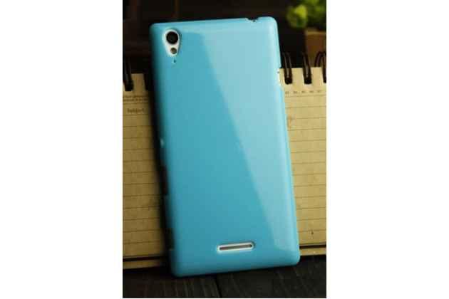 Фирменная ультра-тонкая полимерная из мягкого качественного силикона задняя панель-чехол-накладка для Sony Xperia T3 D5102/D5103 голубая