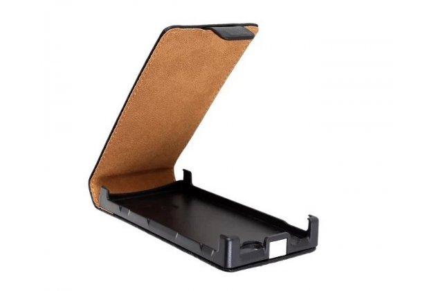 Фирменный оригинальный вертикальный откидной чехол-флип для Sony Xperia U ST25i черный кожаный