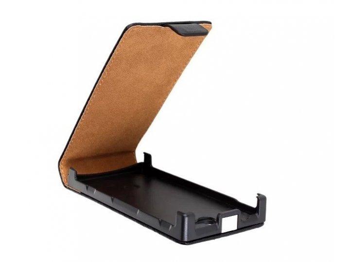 Фирменный оригинальный вертикальный откидной чехол-флип для Sony Xperia U ST25i черный кожаный..
