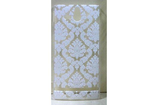 Фирменная роскошная задняя панель-чехол-накладка с расписным узором для Sony Xperia U ST25i прозрачная белая