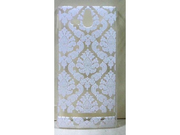 Фирменная роскошная задняя панель-чехол-накладка с расписным узором для Sony Xperia U ST25i прозрачная белая..