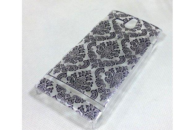 Фирменная роскошная задняя панель-чехол-накладка с расписным узором для Sony Xperia U ST25i прозрачная черная