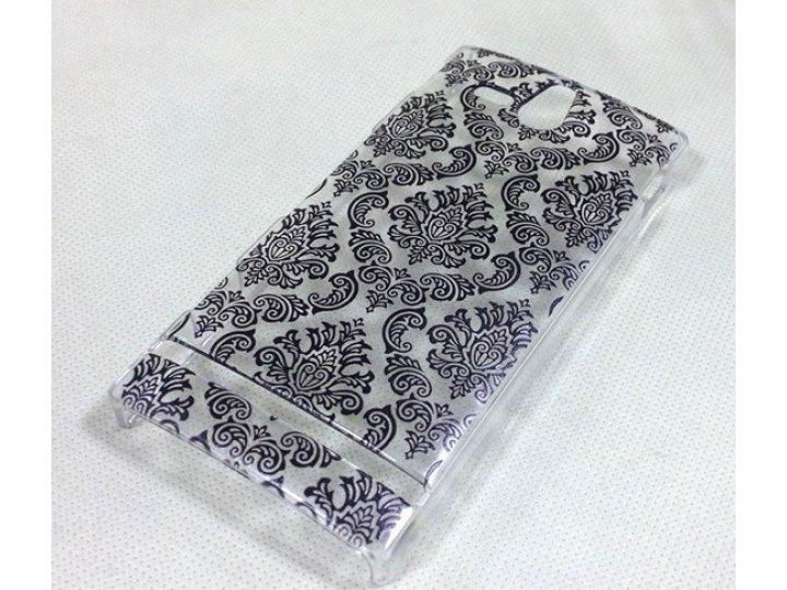 Фирменная роскошная задняя панель-чехол-накладка с расписным узором для Sony Xperia U ST25i прозрачная черная..
