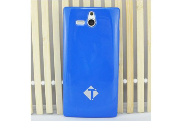 Фирменная ультра-тонкая полимерная из мягкого качественного силикона задняя панель-чехол-накладка для Sony Xperia U ST25i синяя