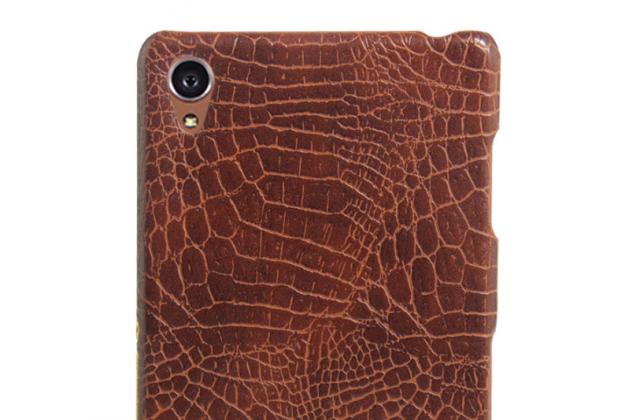 Фирменная роскошная элитная премиальная задняя панель-крышка для Sony Xperia Z3 D6603/ Z3 Dual D6633 из качественной кожи коричневый