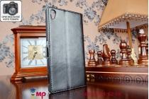 Фирменный чехол-книжка из качественной импортной кожи для Sony Xperia Z3 D6603/ Z3 Dual D6633 черный