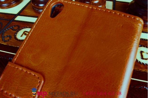 Фирменный чехол-книжка из качественной импортной кожи для Sony Xperia Z3 D6603/ Z3 Dual D6633 коричневый