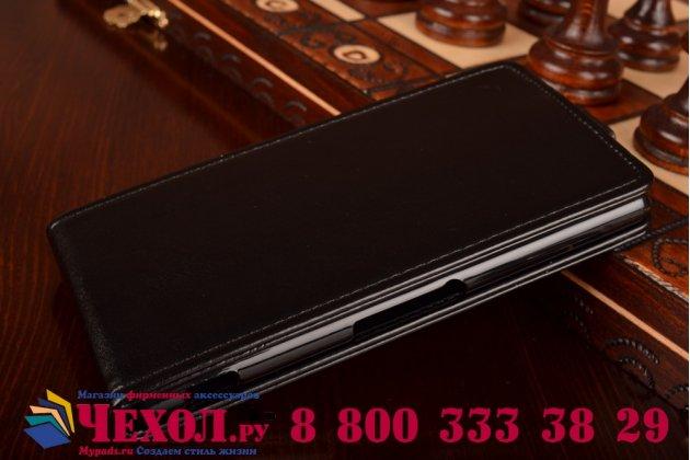 Фирменный оригинальный вертикальный откидной чехол-флип для Sony Xperia Z3 D6603/ Z3 Dual D6633 черный кожаный