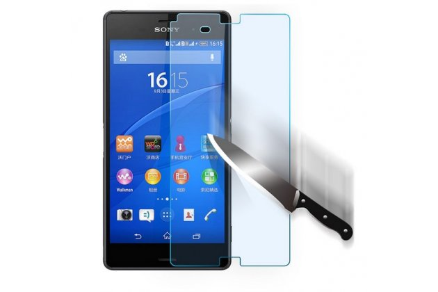Фирменное защитное закалённое противоударное стекло премиум-класса из качественного японского материала с олеофобным покрытием для Sony Xperia Z3 D6603/ Z3 Dual D6633