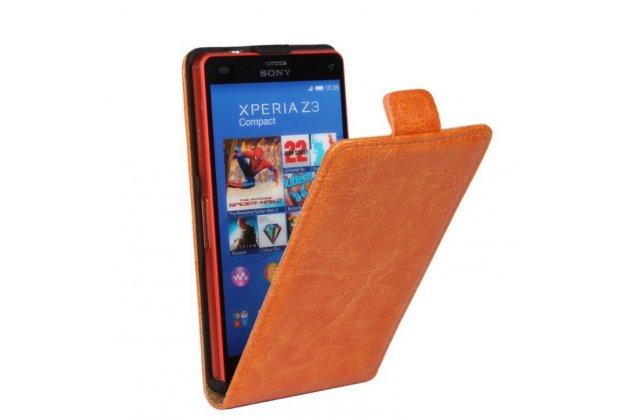 """Фирменный оригинальный вертикальный откидной чехол-флип для Sony Xperia Z3 Compact D5803 оранжевый из качественной импортной кожи """"Prestige"""" Италия"""