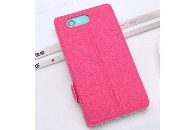 Фирменный оригинальный чехол-книжка для Sony Xperia Z3 Compact D5803 розовый кожаный с окошком для входящих вызовов и свайпом