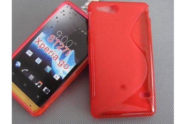 Фирменная ультра-тонкая полимерная из мягкого качественного силикона задняя панель-чехол-накладка для Sony Xperia go ST27i красная