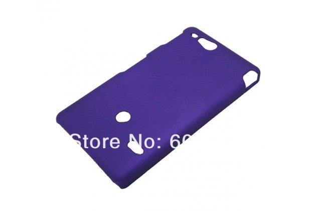 Фирменная задняя панель-крышка-накладка из тончайшего и прочного пластика для Sony Xperia go ST27i фиолетовая