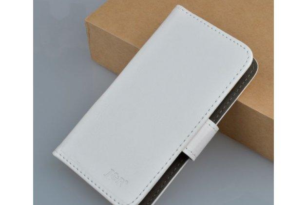 Фирменный чехол-книжка из качественной импортной кожи с подставкой застёжкой и визитницей для Sony Xperia go ST27i белый