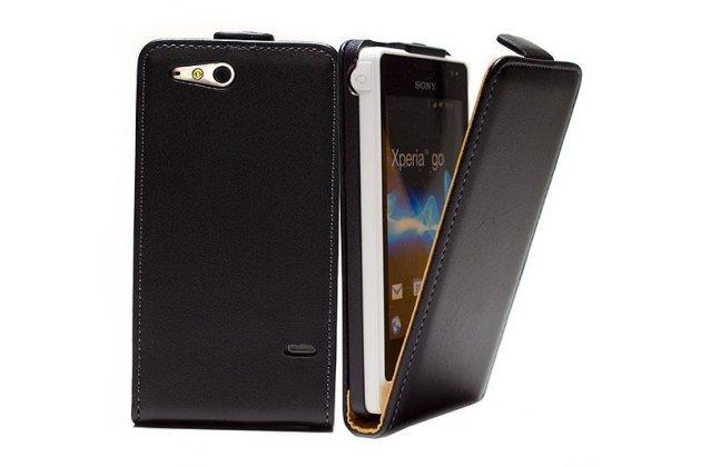 Фирменный оригинальный вертикальный откидной чехол-флип для Sony Xperia go ST27i черный кожаный