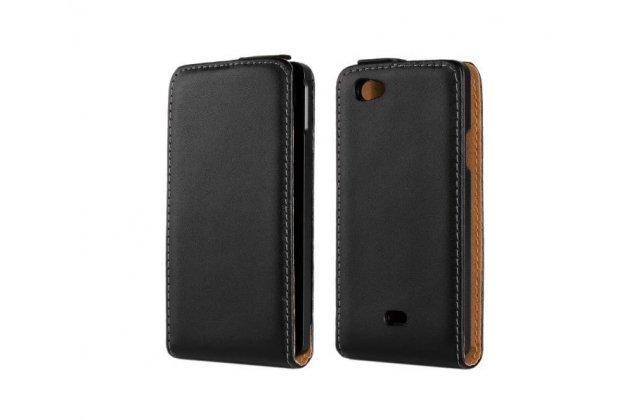 Фирменный оригинальный вертикальный откидной чехол-флип для Sony Xperia miro St23i черный кожаный