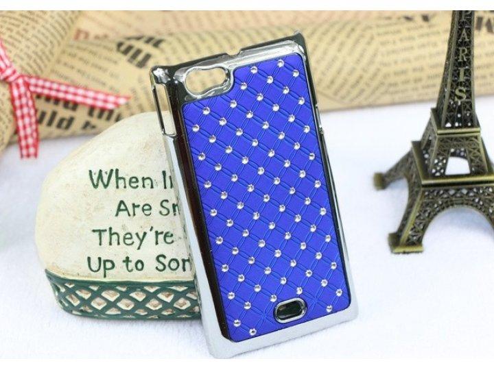 Фирменная роскошная задняя-панель-накладка декорированная кристалликами на Sony Xperia miro St23i синяя..