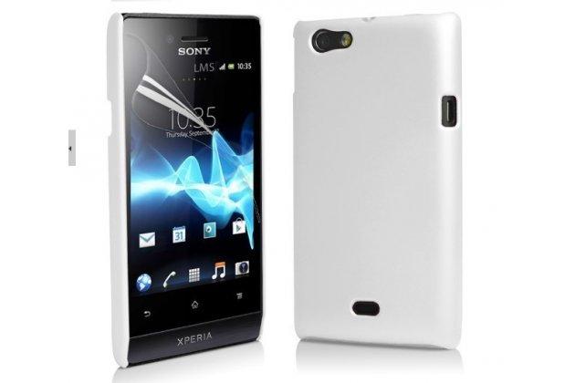 Фирменная задняя панель-крышка-накладка из тончайшего и прочного пластика для Sony Xperia miro St23i белая