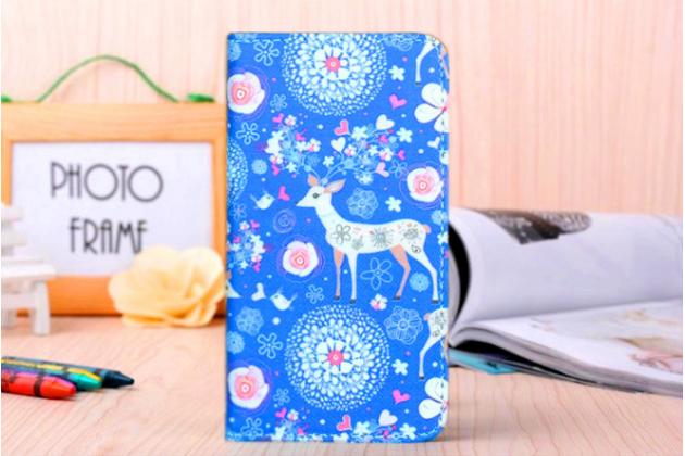 """Фирменный уникальный необычный чехол-книжка для Sony Xperia miro St23i  """"тематика Олень в цветах"""""""