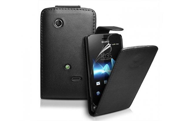 Фирменный оригинальный вертикальный откидной чехол-флип для Sony Xperia tipo dual ST21i черный кожаный