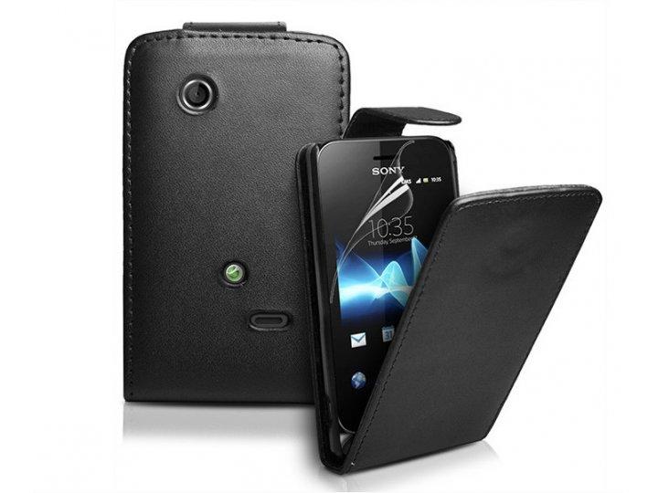 Фирменный оригинальный вертикальный откидной чехол-флип для Sony Xperia tipo dual ST21i черный кожаный..