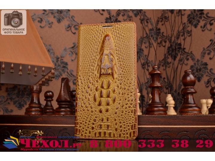 Фирменный роскошный эксклюзивный чехол с объёмным 3D изображением кожи крокодила коричневый для Sony Xperia C3..
