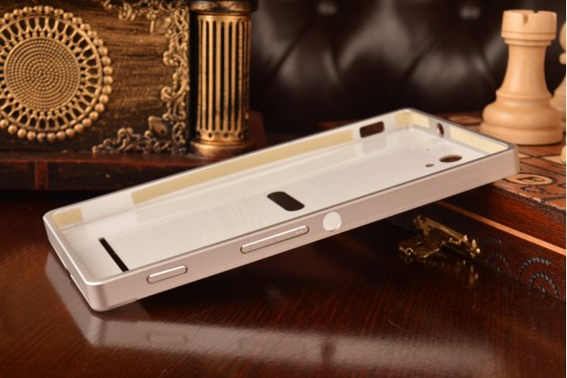 Фирменная металлическая задняя панель-крышка-накладка из тончайшего облегченного авиационного алюминия для Sony Xperia C3/C3 Dual Sim D2533 /D2502 /S55T/ S55U серебристая
