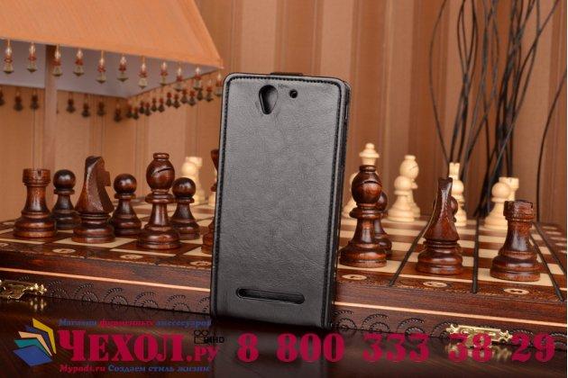 """Фирменный оригинальный вертикальный откидной чехол-флип для Sony Xperia C3/C3 Dual Sim D2533 /D2502 /S55T/ S55U черный кожаный """"Prestige"""" Италия"""