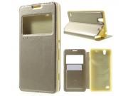 Фирменный чехол-книжка для Sony Xperia C4/ C4 Dual E5303 / E5333 золотой с окошком для входящих вызовов из имп..
