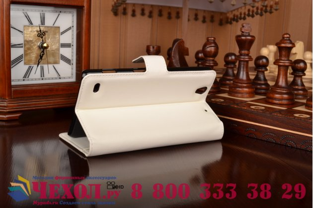 Фирменный чехол-книжка из качественной импортной кожи с подставкой застёжкой и визитницей для Сони Иксперия Ц4 / Ц4 Дуал Сим белый