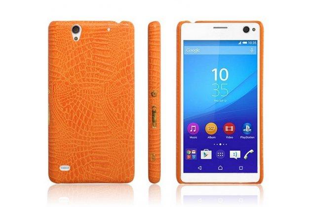 Фирменная роскошная элитная премиальная задняя панель-крышка для Sony Xperia C4/ C4 Dual E5303 / E5333 из лаковой кожи крокодила оранжевая