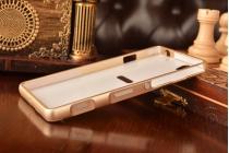 Фирменная металлическая задняя панель-крышка-накладка из тончайшего облегченного авиационного алюминия для Sony Xperia C4/ C4 Dual E5303 / E5333 золотая