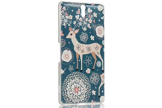 "Фирменная роскошная задняя панель-чехол-накладка с безумно красивым расписным узором на Sony Xperia C5 Ultra / C5 Ultra Dual E5533 E5563/ T4 Ultra 6.0"" ""тематика Олени с цветами"""