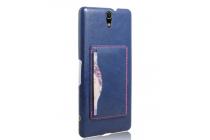 """Фирменная роскошная элитная премиальная задняя панель-крышка для Sony Xperia C5 Ultra / C5 Ultra Dual E5533 E5563/ T4 Ultra 6.0""""  из качественной кожи буйвола с визитницей синий"""
